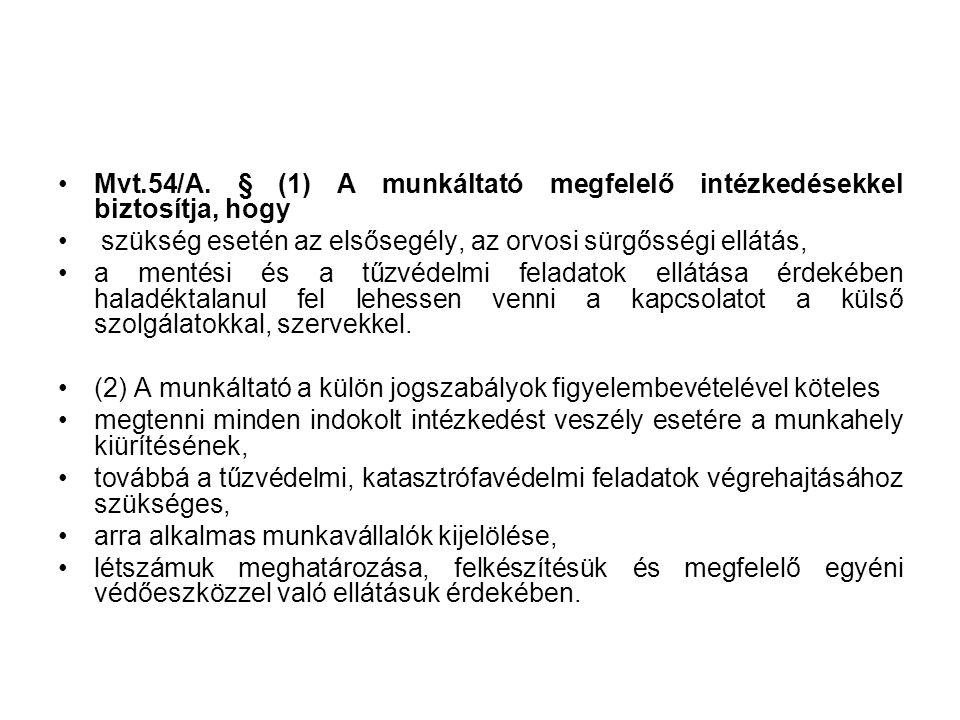 Mvt.54/A. § (1) A munkáltató megfelelő intézkedésekkel biztosítja, hogy