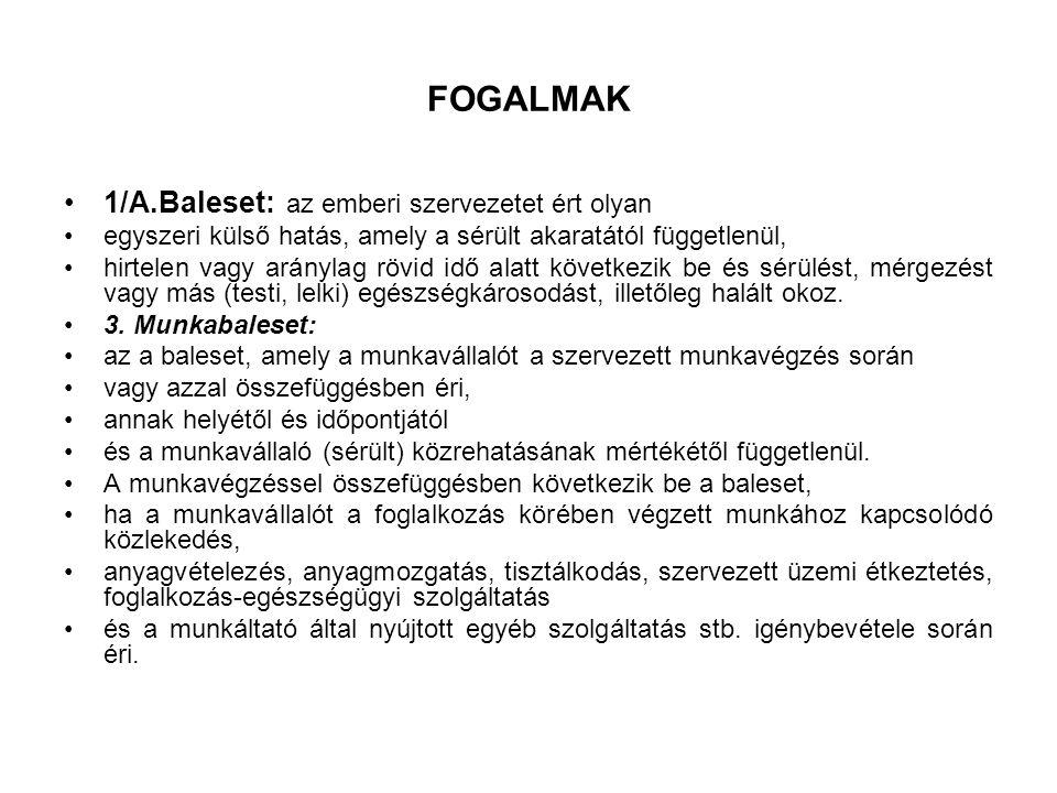FOGALMAK 1/A.Baleset: az emberi szervezetet ért olyan