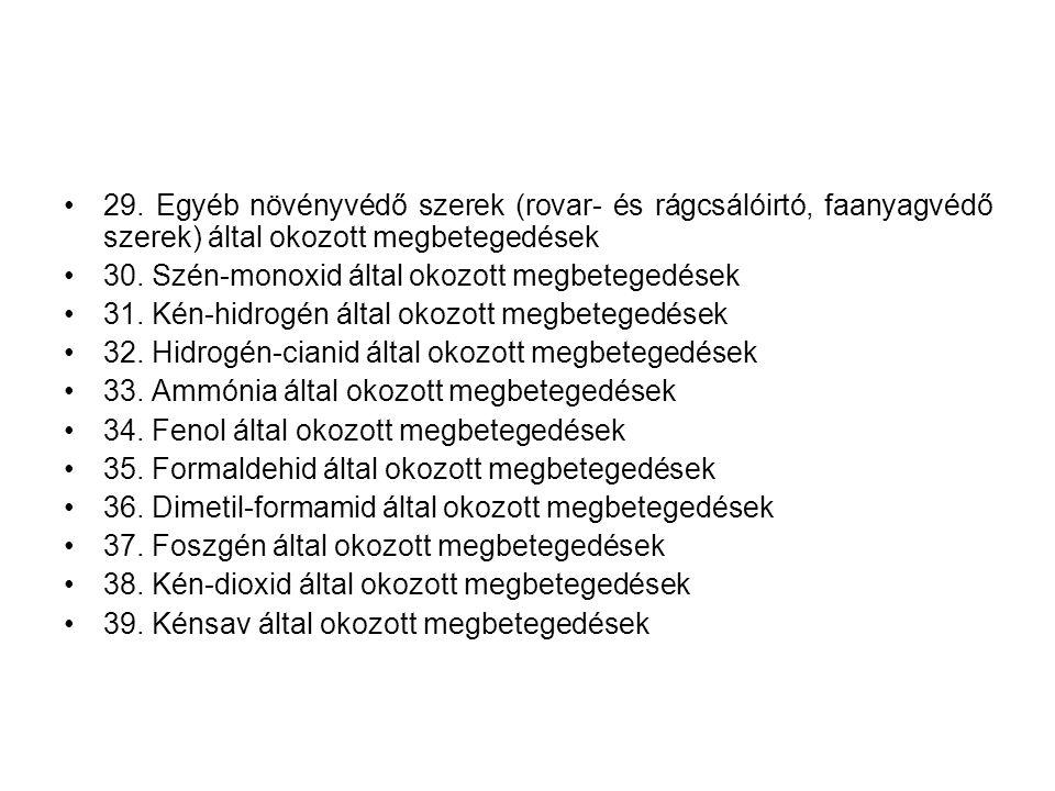 29. Egyéb növényvédő szerek (rovar- és rágcsálóirtó, faanyagvédő szerek) által okozott megbetegedések