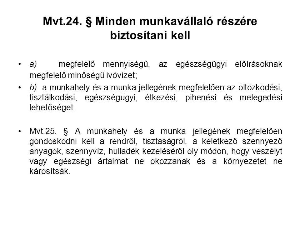 Mvt.24. § Minden munkavállaló részére biztosítani kell
