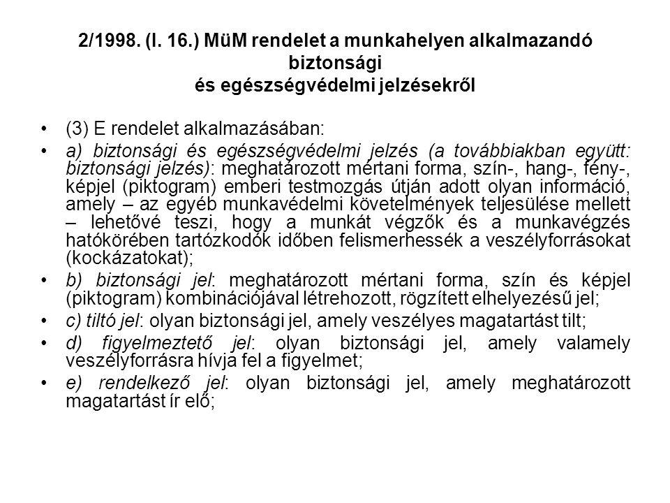 2/1998. (I. 16.) MüM rendelet a munkahelyen alkalmazandó biztonsági és egészségvédelmi jelzésekről