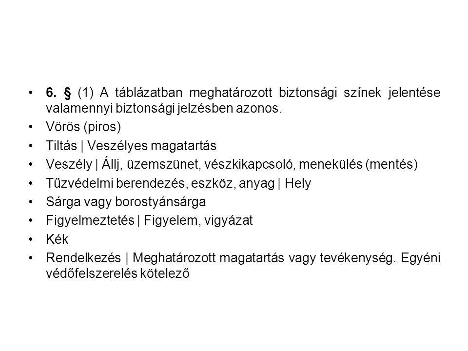 6. § (1) A táblázatban meghatározott biztonsági színek jelentése valamennyi biztonsági jelzésben azonos.