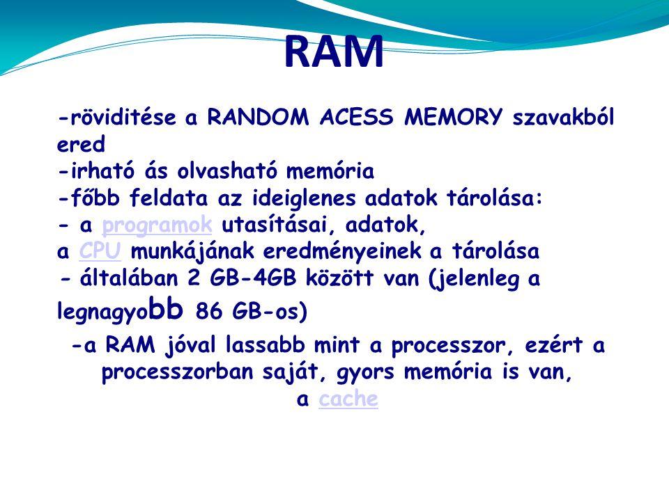 RAM -röviditése a RANDOM ACESS MEMORY szavakból ered