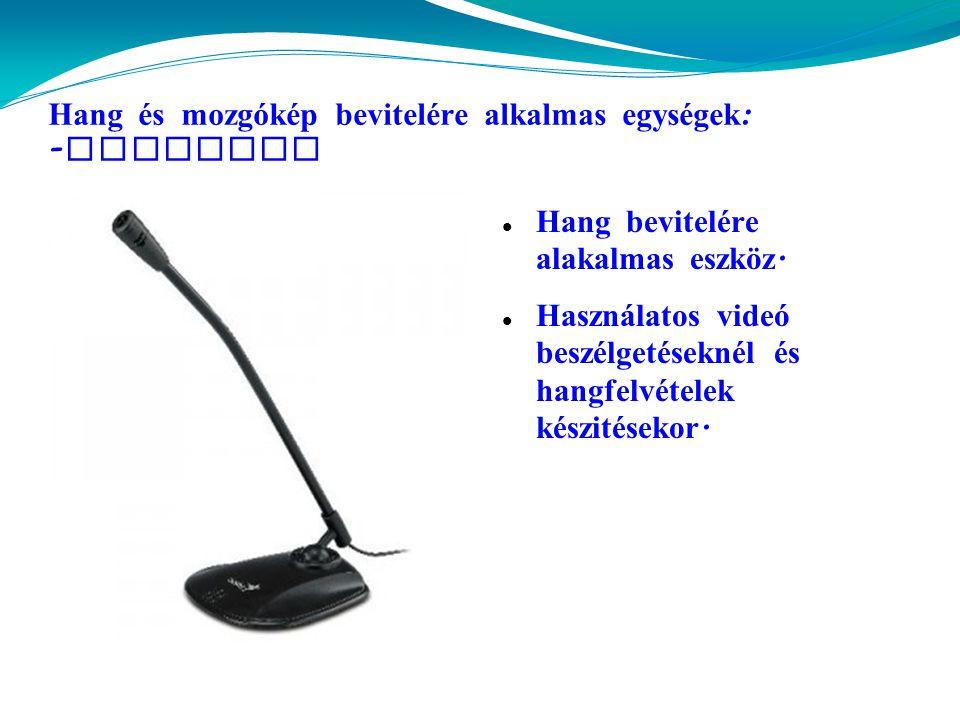 Hang és mozgókép bevitelére alkalmas egységek: -mikrofon