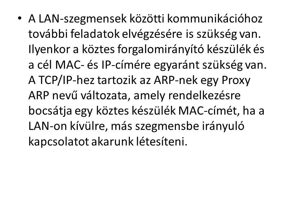 A LAN-szegmensek közötti kommunikációhoz további feladatok elvégzésére is szükség van.