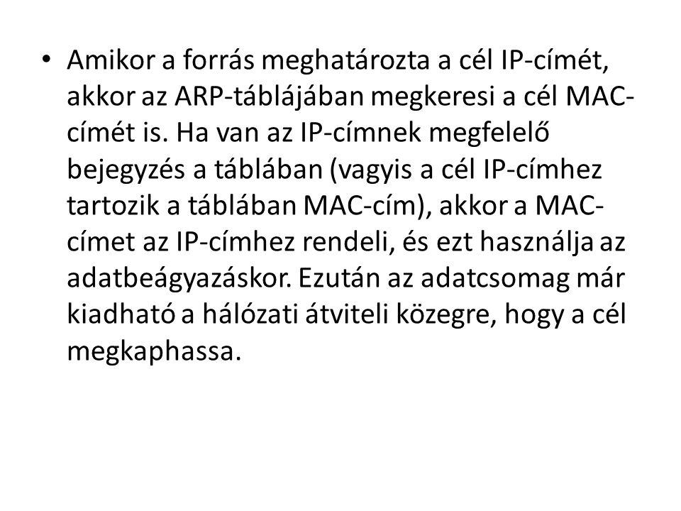 Amikor a forrás meghatározta a cél IP-címét, akkor az ARP-táblájában megkeresi a cél MAC-címét is.