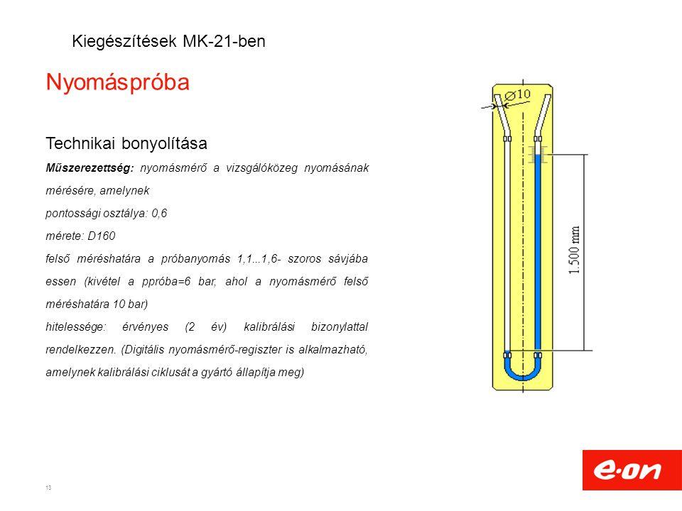 Nyomáspróba Kiegészítések MK-21-ben Technikai bonyolítása