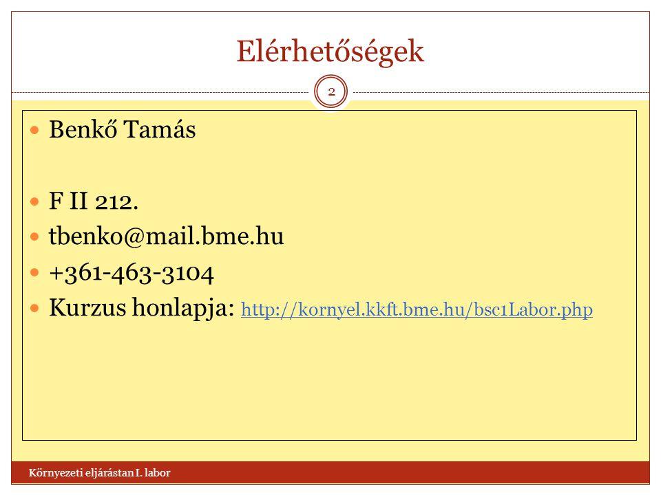 Elérhetőségek Benkő Tamás F II 212. tbenko@mail.bme.hu +361-463-3104