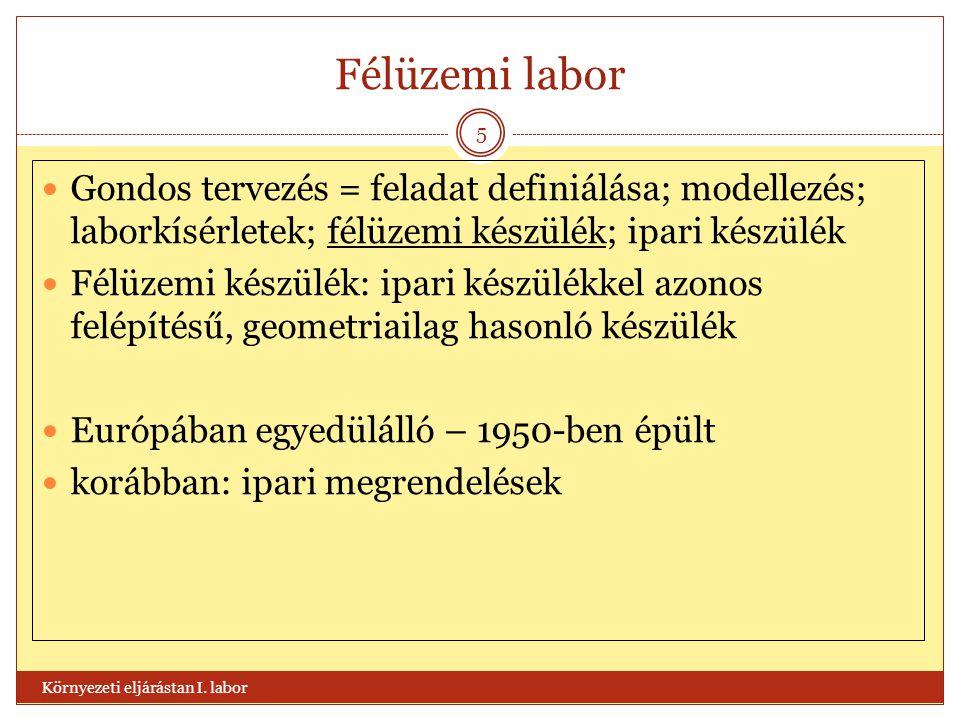 Félüzemi labor Gondos tervezés = feladat definiálása; modellezés; laborkísérletek; félüzemi készülék; ipari készülék.