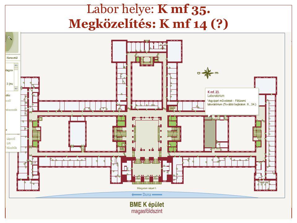Labor helye: K mf 35. Megközelítés: K mf 14 ( )