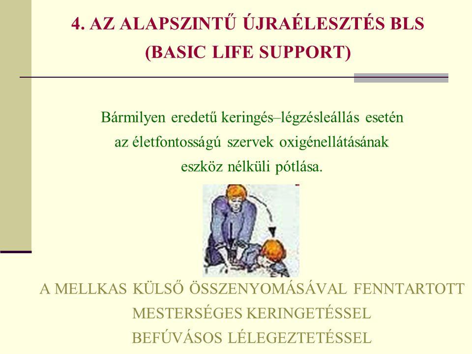4. AZ ALAPSZINTŰ ÚJRAÉLESZTÉS BLS (BASIC LIFE SUPPORT)
