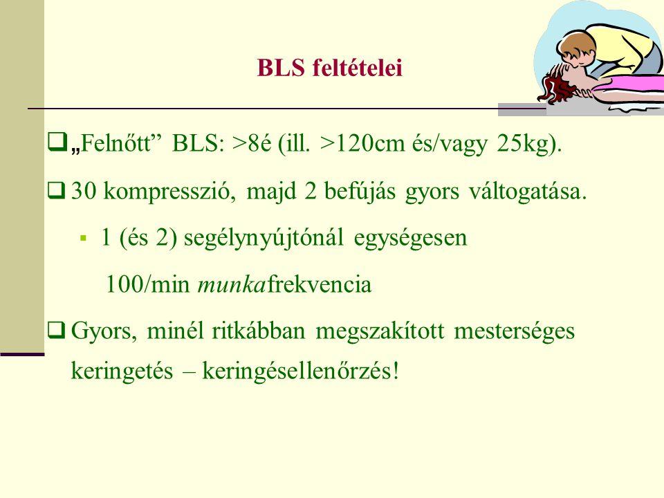 """""""Felnőtt BLS: >8é (ill. >120cm és/vagy 25kg)."""