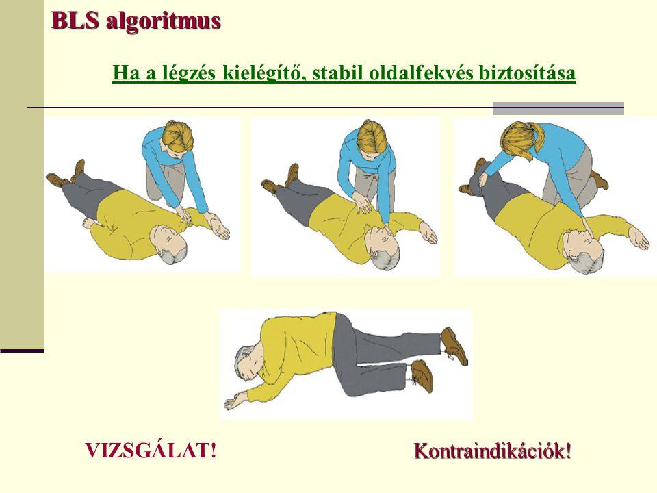 Ha a légzés kielégítő, stabil oldalfekvés biztosítása