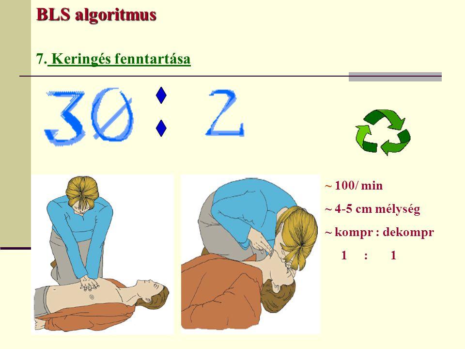 BLS algoritmus 7. Keringés fenntartása ~ 100/ min ~ 4-5 cm mélység