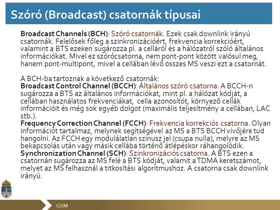 Szóró (Broadcast) csatornák típusai