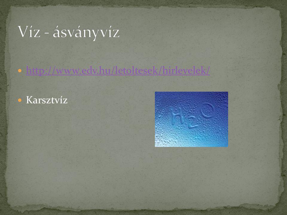 Víz - ásványvíz http://www.edv.hu/letoltesek/hirlevelek/ Karsztvíz