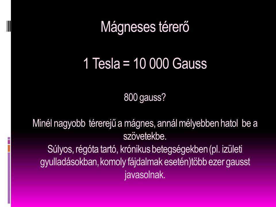 Mágneses térerő 1 Tesla = 10 000 Gauss 800 gauss