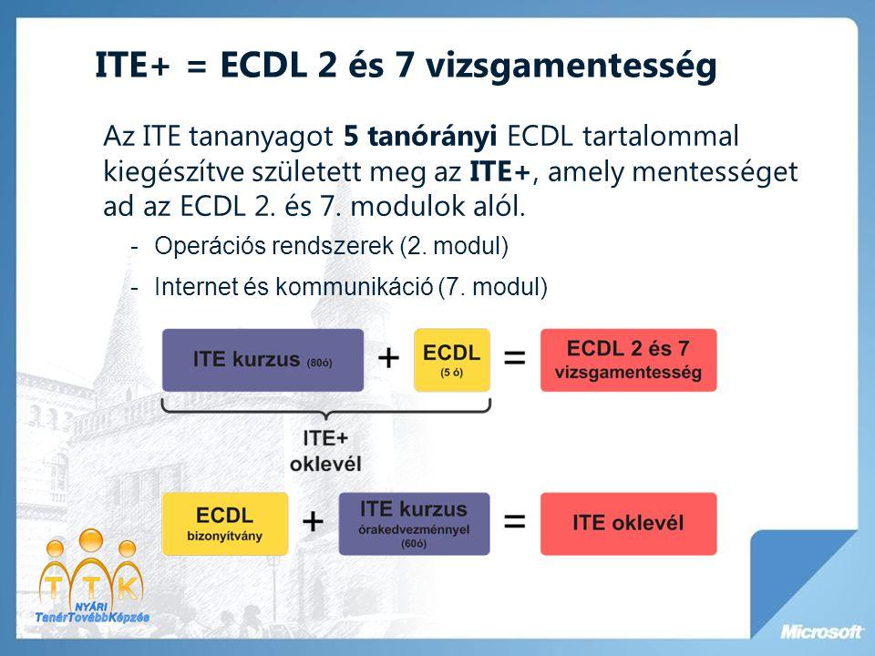 ITE+ = ECDL 2 és 7 vizsgamentesség