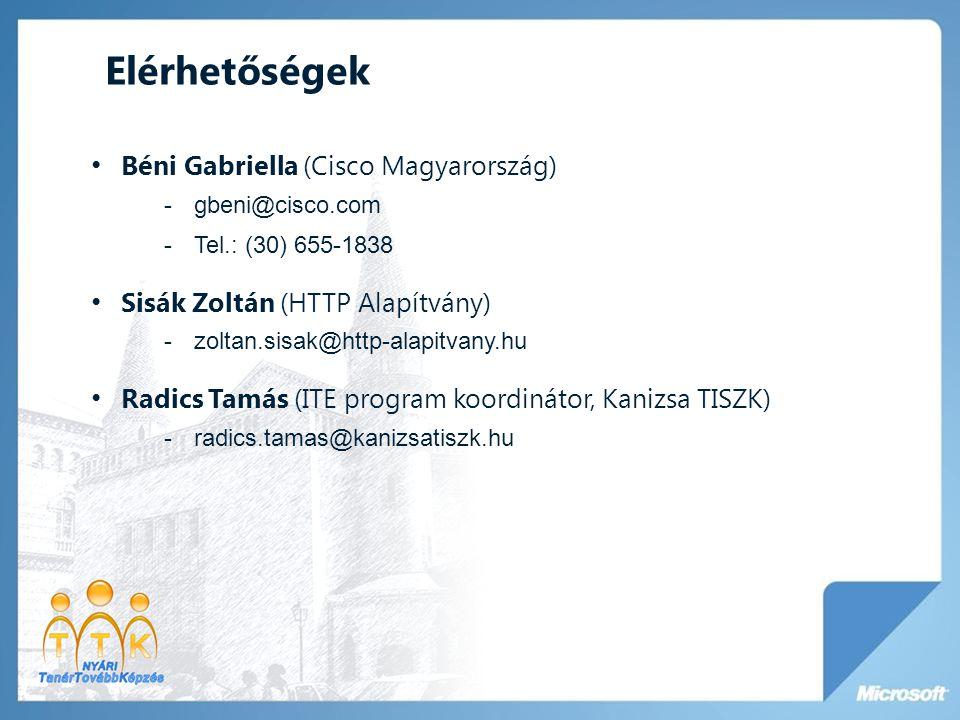 Elérhetőségek Béni Gabriella (Cisco Magyarország)