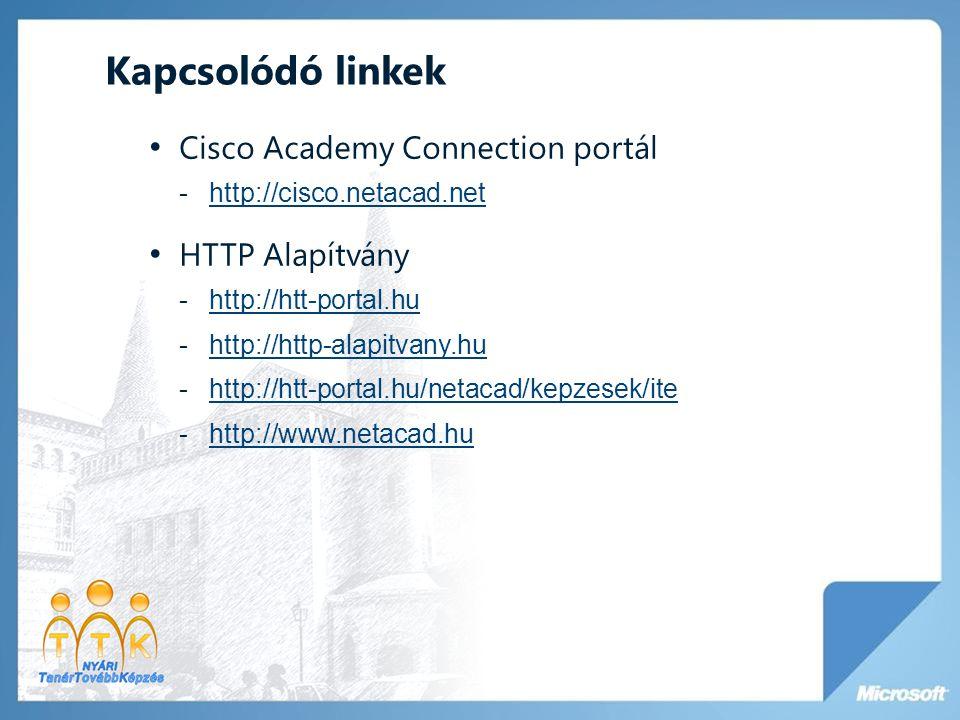 Kapcsolódó linkek Cisco Academy Connection portál HTTP Alapítvány