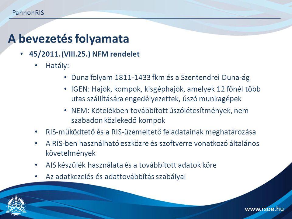 A bevezetés folyamata 45/2011. (VIII.25.) NFM rendelet Hatály: