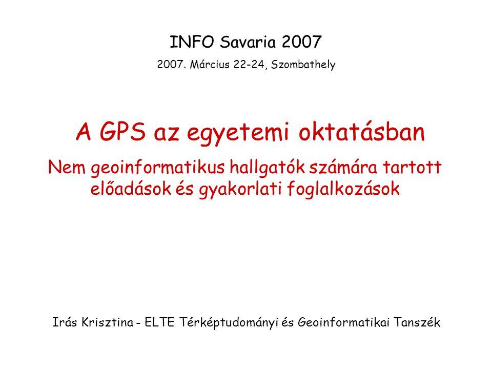 A GPS az egyetemi oktatásban