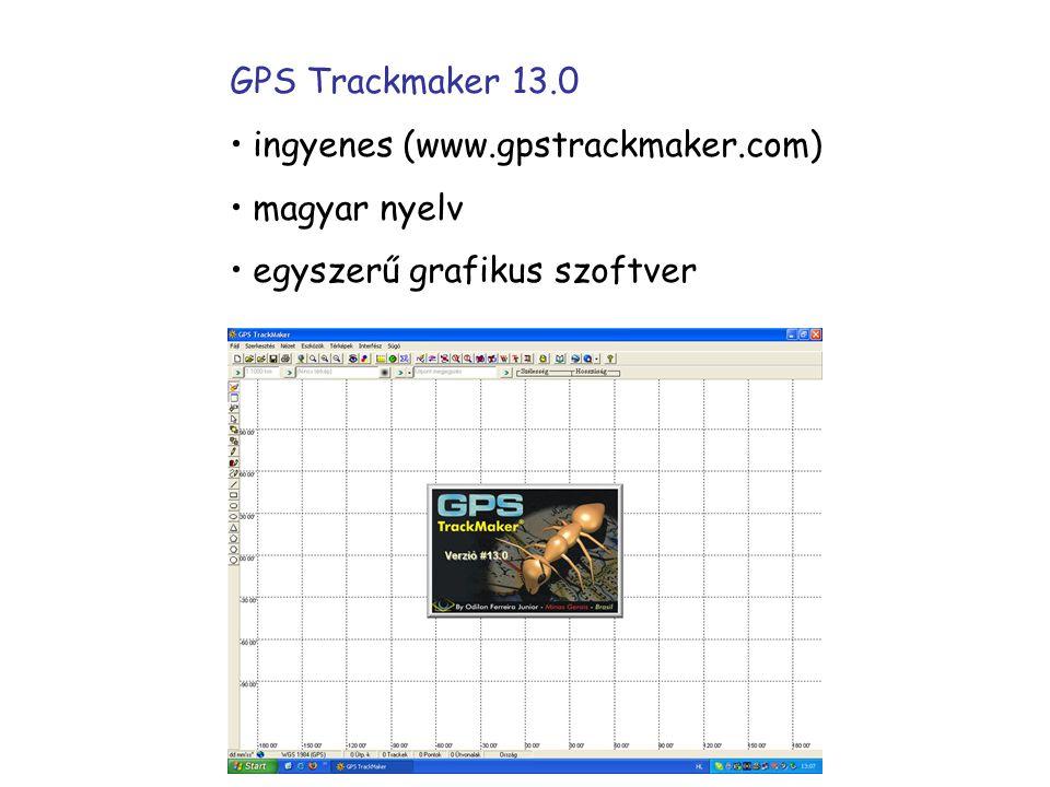 GPS Trackmaker 13.0 ingyenes (www.gpstrackmaker.com) magyar nyelv egyszerű grafikus szoftver