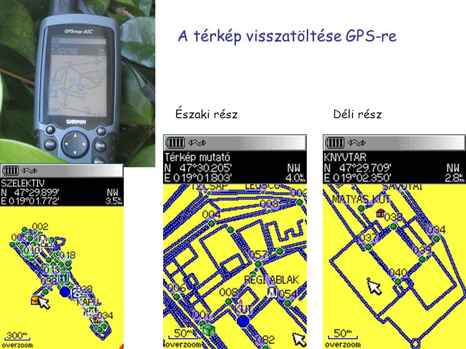 A térkép visszatöltése GPS-re