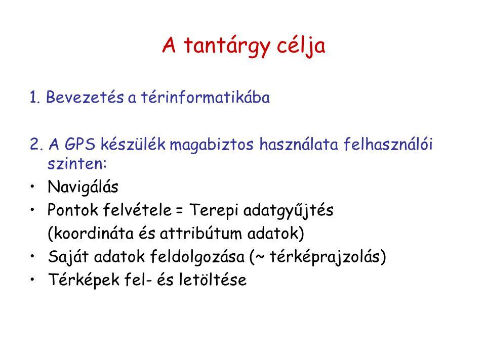 A tantárgy célja 1. Bevezetés a térinformatikába