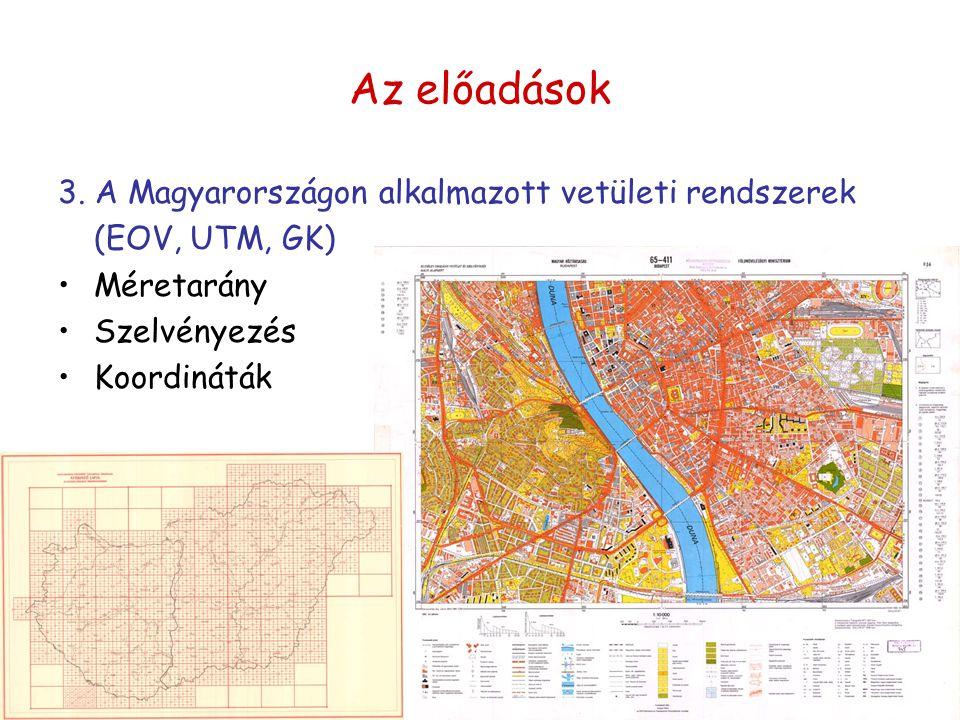 Az előadások 3. A Magyarországon alkalmazott vetületi rendszerek