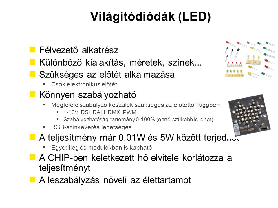 Világítódiódák (LED) Félvezető alkatrész