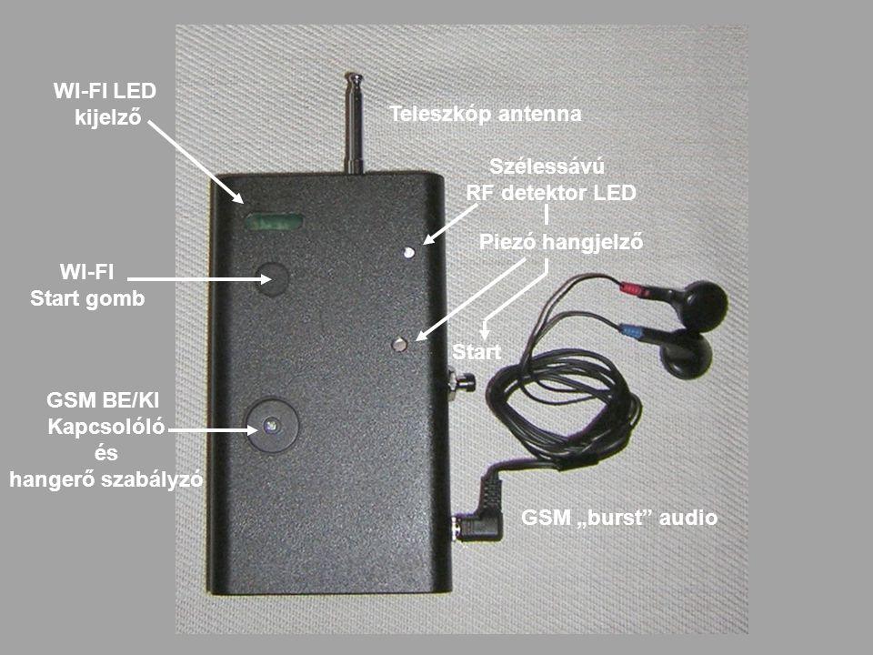 WI-FI LED kijelző. Teleszkóp antenna. Szélessávú. RF detektor LED. Piezó hangjelző. WI-FI. Start gomb.