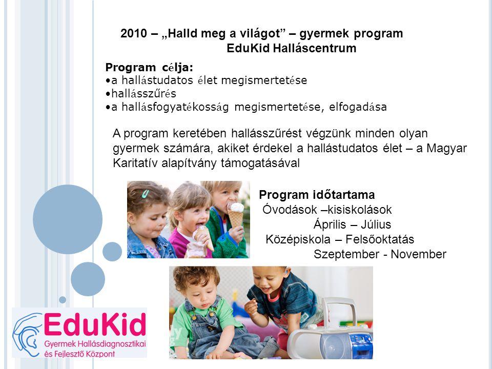 """2010 – """"Halld meg a világot – gyermek program EduKid Halláscentrum"""