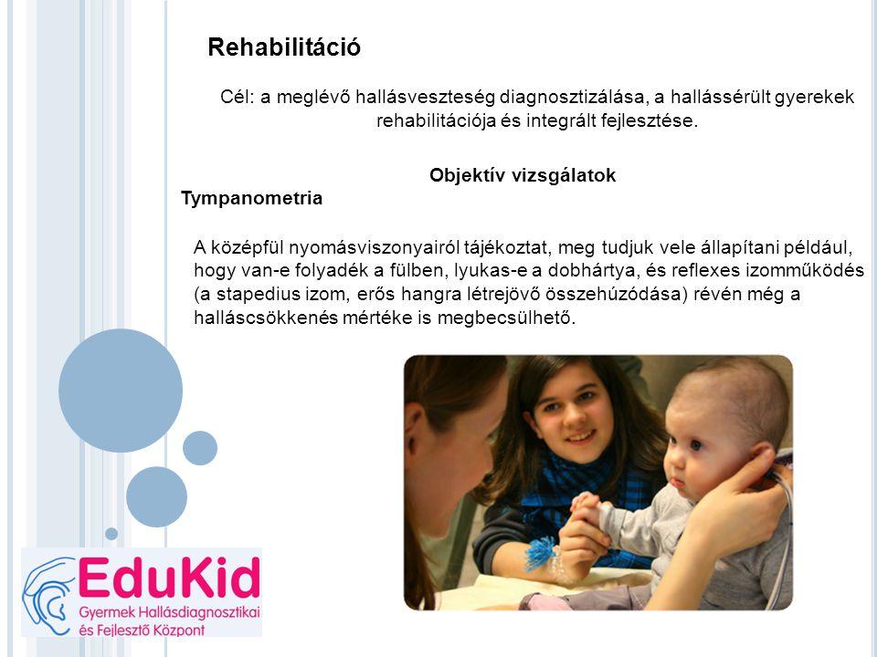 Rehabilitáció Cél: a meglévő hallásveszteség diagnosztizálása, a hallássérült gyerekek rehabilitációja és integrált fejlesztése.