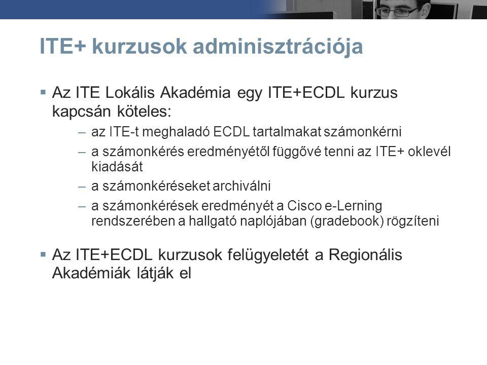 ITE+ kurzusok adminisztrációja