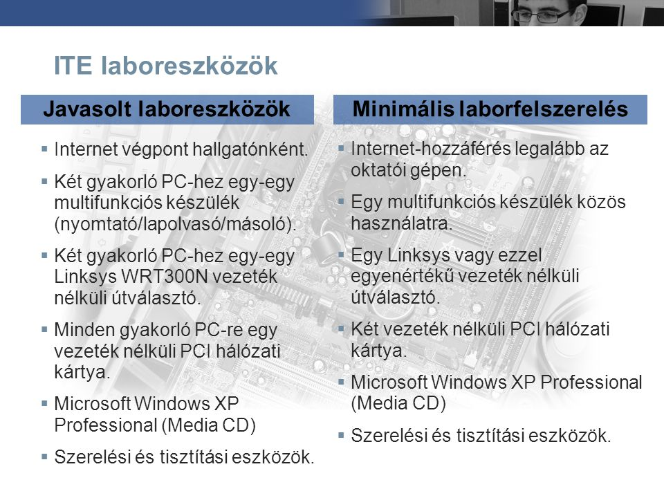 Javasolt laboreszközök Minimális laborfelszerelés