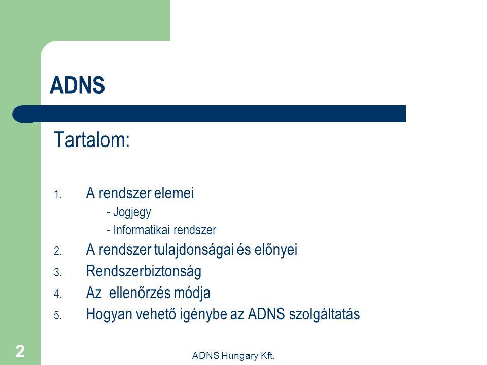 ADNS Tartalom: A rendszer elemei A rendszer tulajdonságai és előnyei