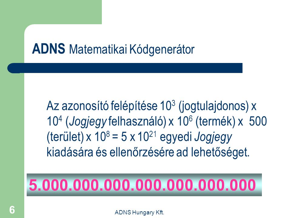 5.000.000.000.000.000.000.000 ADNS Matematikai Kódgenerátor