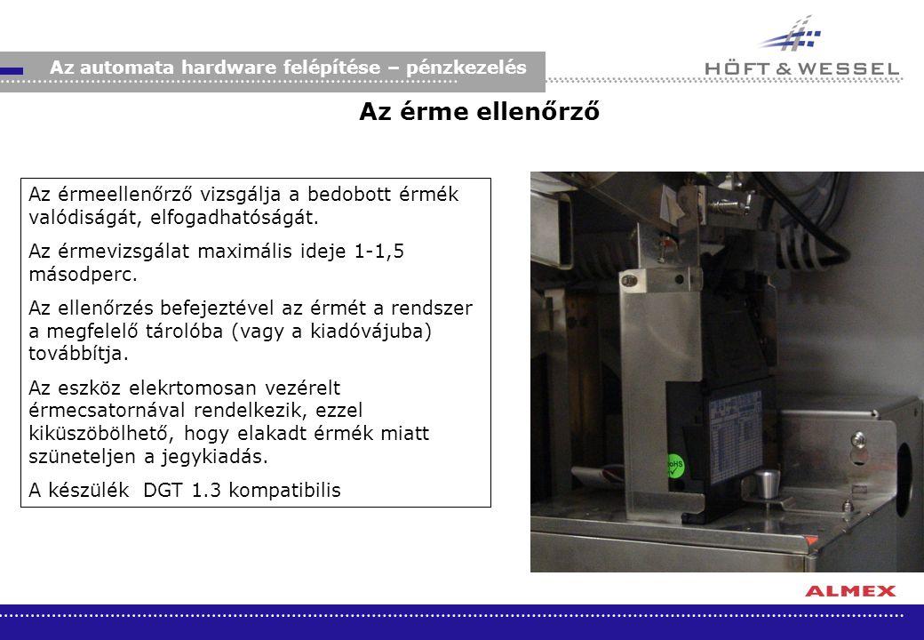 Az automata hardware felépítése – pénzkezelés
