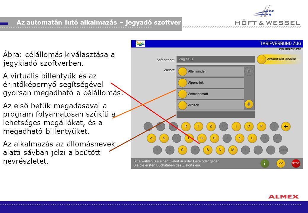 Ábra: célállomás kiválasztása a jegykiadó szoftverben.
