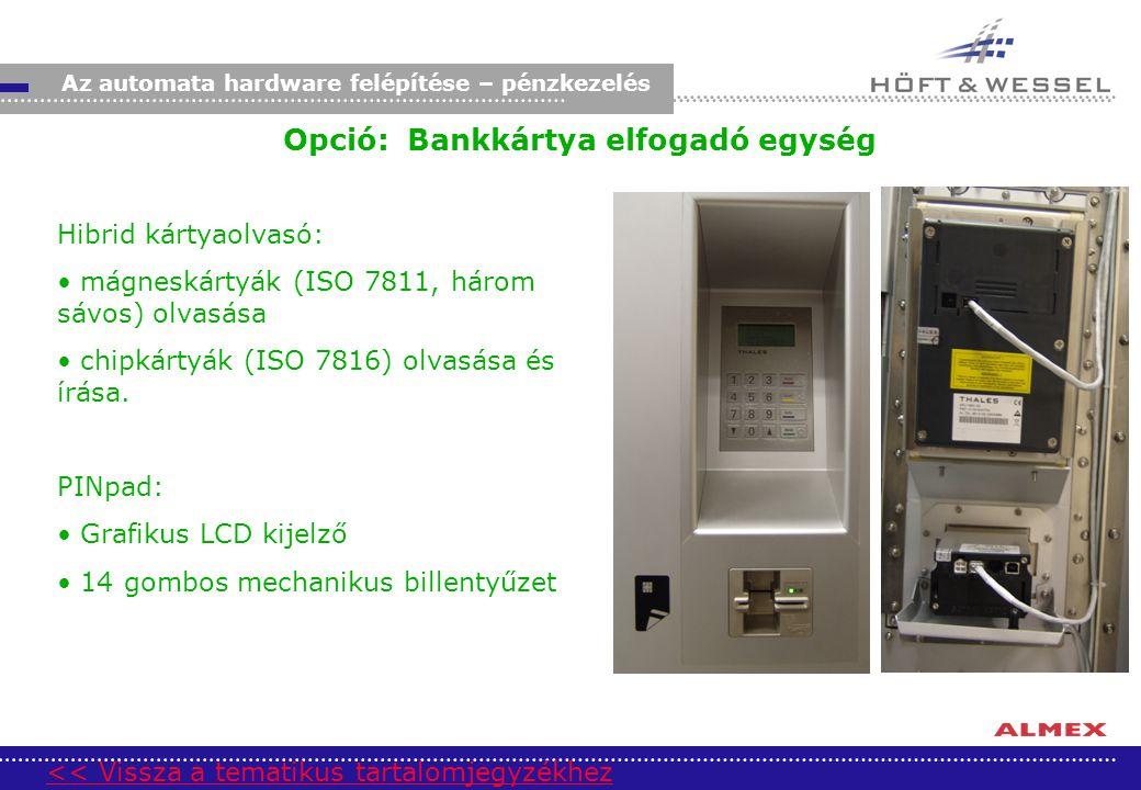 Opció: Bankkártya elfogadó egység