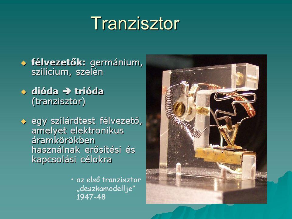 Tranzisztor félvezetők: germánium, szilícium, szelén