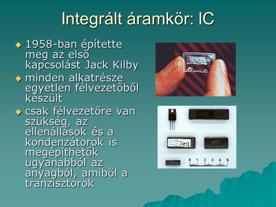Integrált áramkör: IC 1958-ban építette meg az első kapcsolást Jack Kilby. minden alkatrésze egyetlen félvezetőből készült.