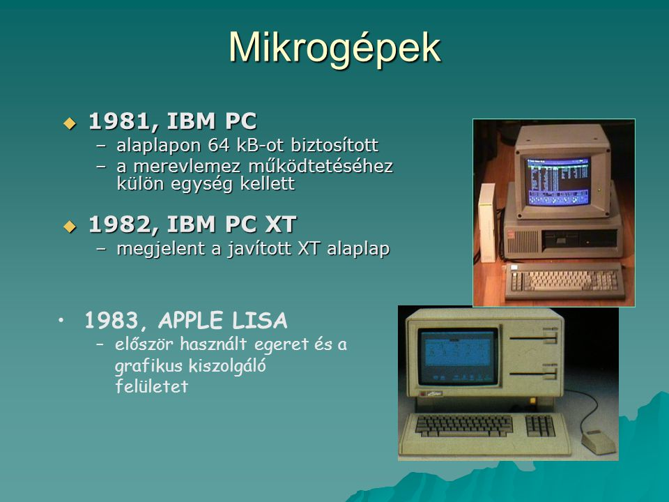 Mikrogépek 1981, IBM PC 1982, IBM PC XT 1983, APPLE LISA