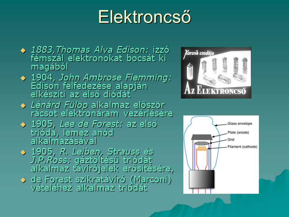 Elektroncső 1883,Thomas Alva Edison: izzó fémszál elektronokat bocsát ki magából.