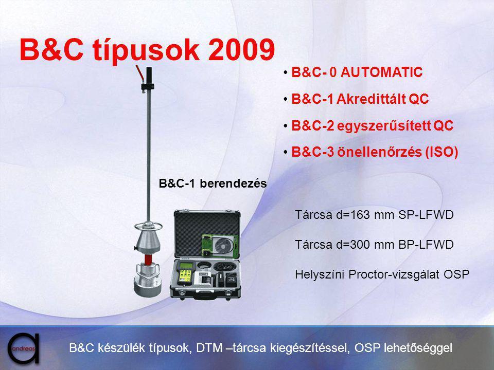 B&C típusok 2009 B&C- 0 AUTOMATIC B&C-1 Akredittált QC
