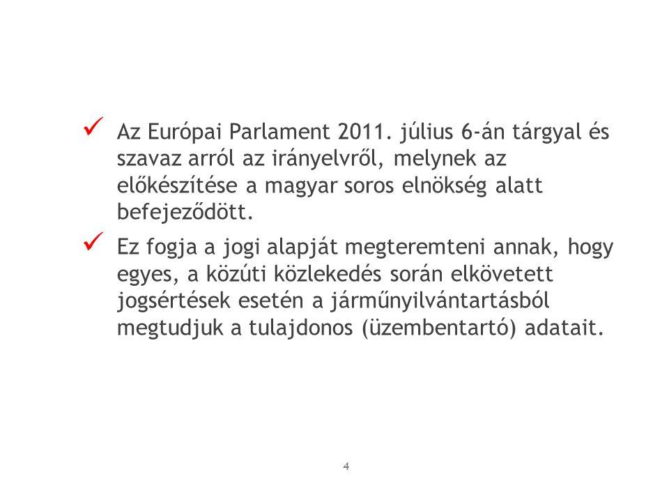 Az Európai Parlament 2011. július 6-án tárgyal és szavaz arról az irányelvről, melynek az előkészítése a magyar soros elnökség alatt befejeződött.