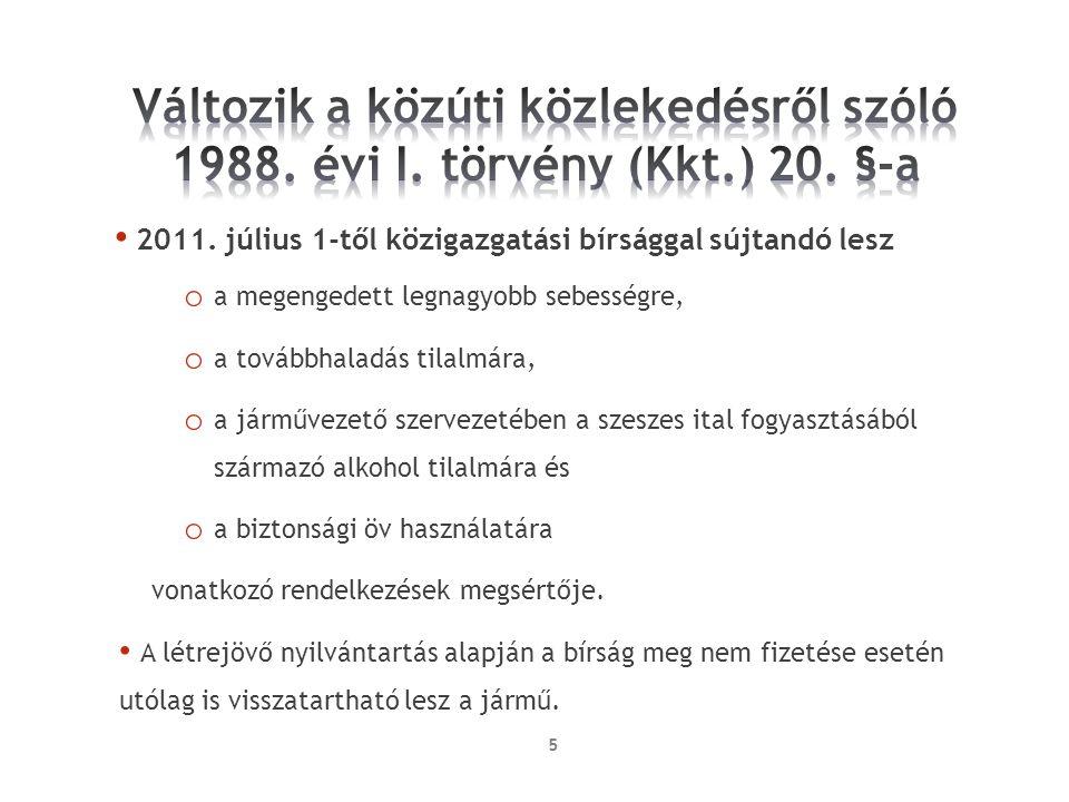 Változik a közúti közlekedésről szóló 1988. évi I. törvény (Kkt. ) 20
