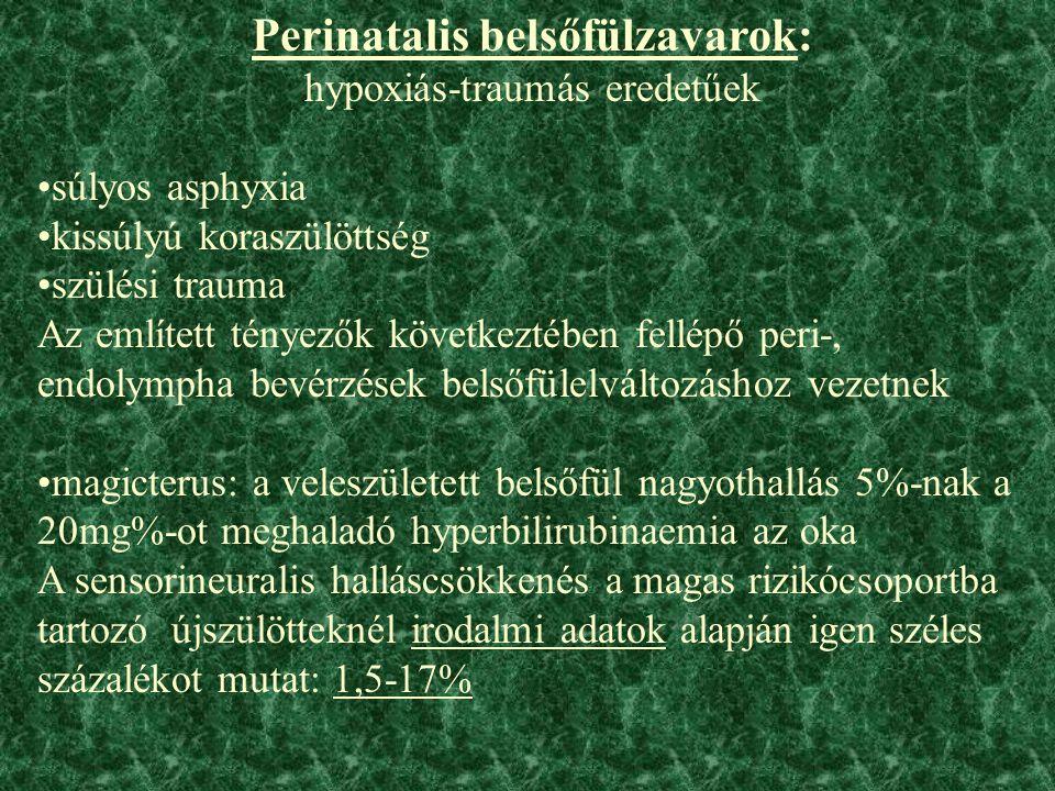 Perinatalis belsőfülzavarok: