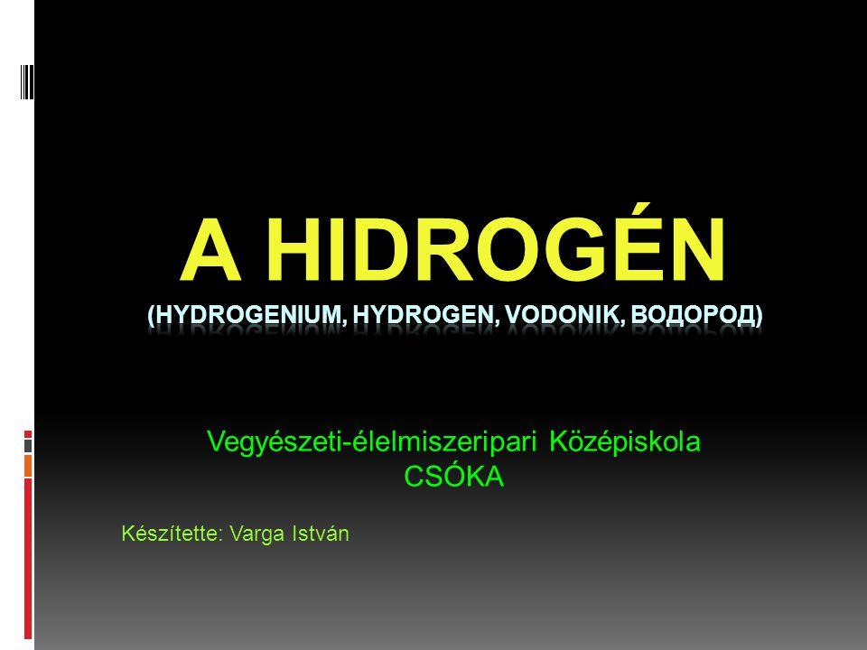 A hidrogén (hydrogenium, hydrogen, vodonik, водород)